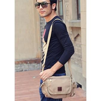 khaki Canvas shoulder bags for women