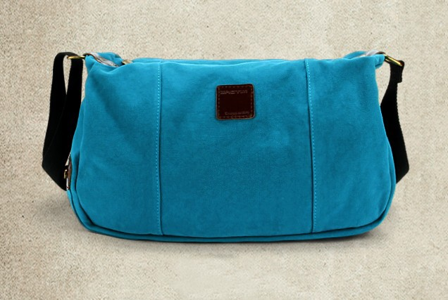 Blue Canvas Messenger Bags For School