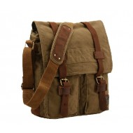 army green Mens canvas messenger bag