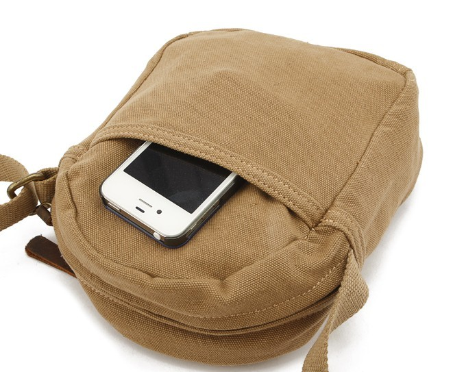 839451842c7 Canvas messenger bag for men  mens small canvas shoulder bag  khaki ...