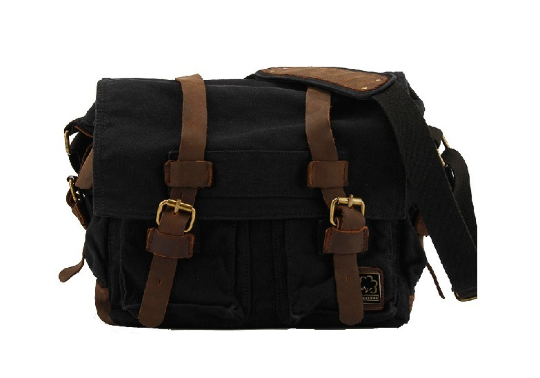... men  black Canvas shoulder bag ... ff2c048b5eaf9