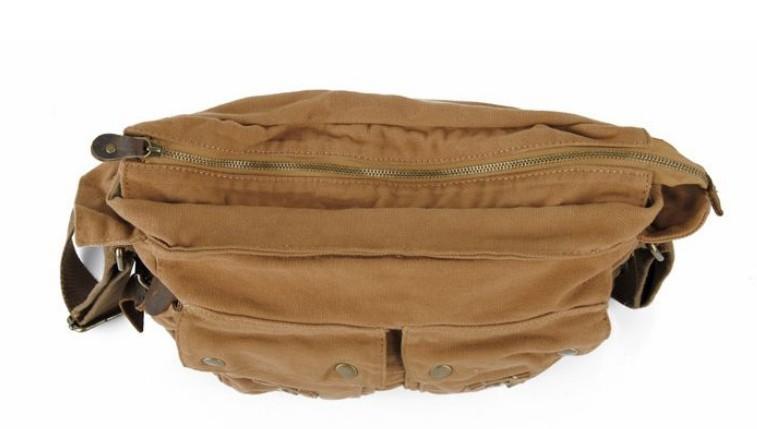 ... khaki  Canvas shoulder messenger bag men b318c448f97fc