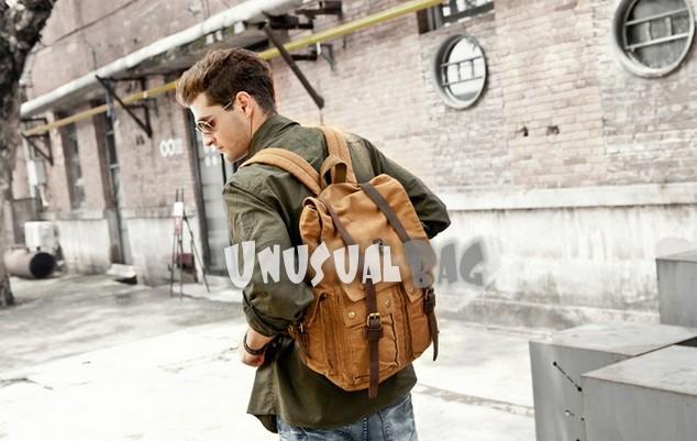 Khaki Canvas Rucksack Backpack For Men
