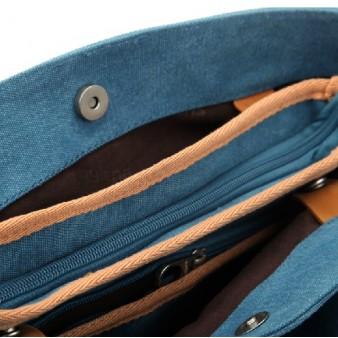 blue Canvas satchel bags for women