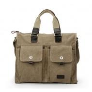 Satchel bag, khaki canvas messenger bag