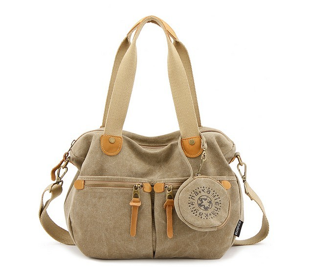 Khaki Messenger Bags For Women Las Canvas