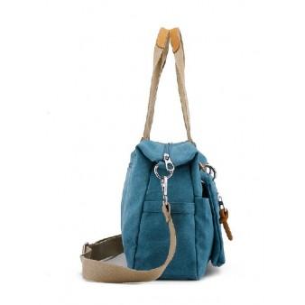 blue canvas over the shoulder bag