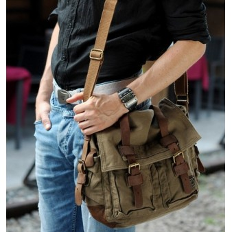army green courier bag