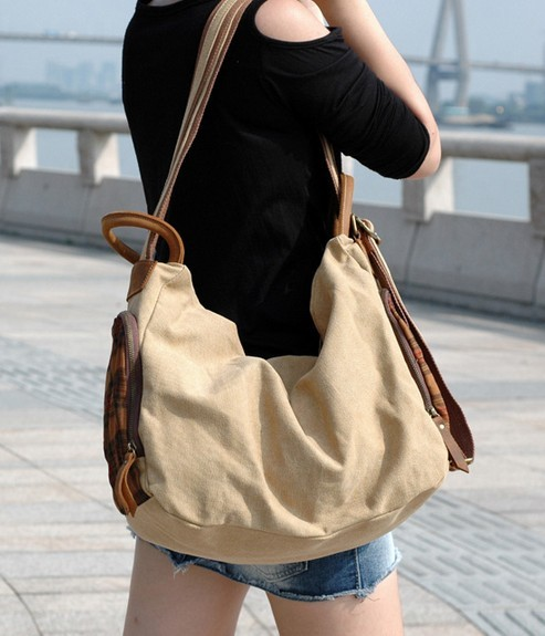 Womens Canvas Satchel Backpack Khaki Messenger Bag