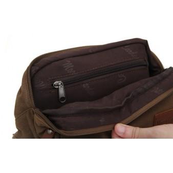 khaki Canvas multi pocket waist bag