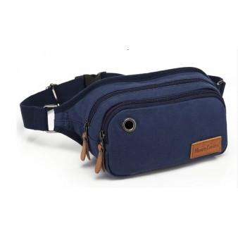blue Canvas multi pocket waist bag