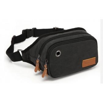 black Canvas multi pocket waist bag