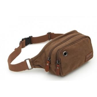 coffee Canvas multi pocket waist bag