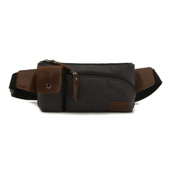 black canvas fanny pack