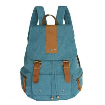 blue Canvas backpack purses for women