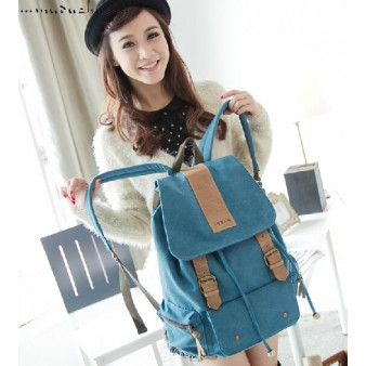 Canvas backpack purses blue