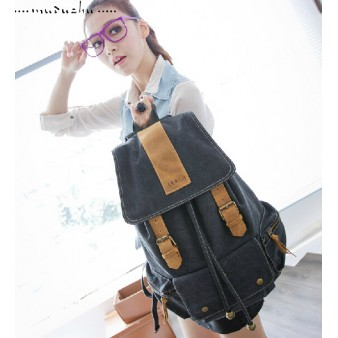 black Canvas backpack purses for women