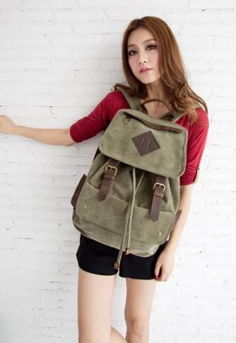 dfc8f057f34d Girls canvas rucksacks  army green vintage backpack  orange Girls canvas  rucksack ...