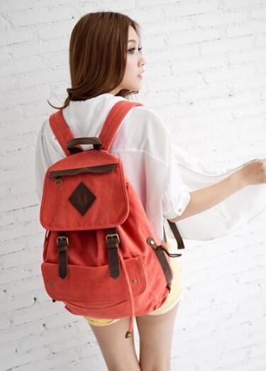 3938ffbbd75d Girls canvas rucksacks  army green vintage backpack  orange Girls canvas  rucksack  orange vintage backpack ...