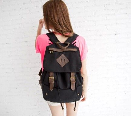 169023b6d51f ... black Girls canvas rucksack  black vintage backpack ...