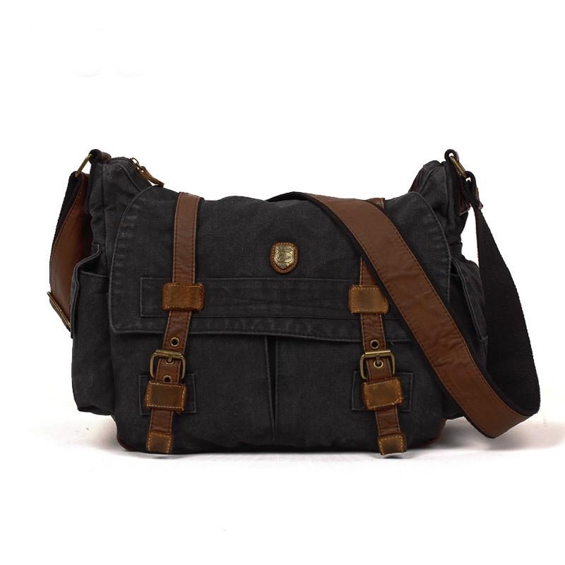 Black Canvas Shoulder Messenger Bag