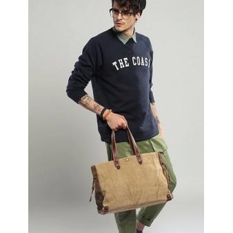 khaki canvas handbag