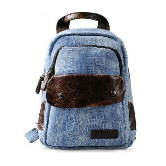 blue over the shoulder backpack
