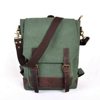 SCHOOL canvas backpack, Cowhide computer backpack