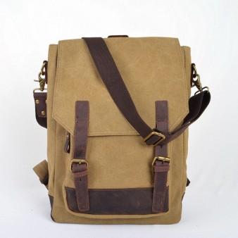 khaki SCHOOL canvas backpack