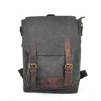 grey SCHOOL canvas backpack
