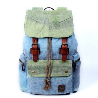 Girls Canvas Laptop Backpacks, Genuine Leather Canvas Rucksack For College
