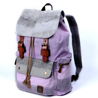 purple Genuine Leather Canvas Rucksack For College