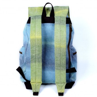 blue Genuine Leather Canvas Rucksack For College