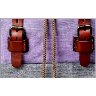 Leather Canvas Rucksack For College