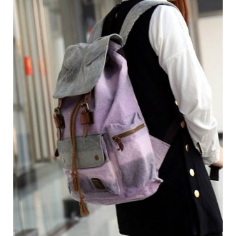 Girls Genuine Leather Canvas Rucksack For College