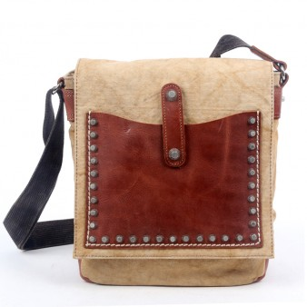Gents Motorcycle Canvas Bag, Rivets Genuine Leather Messenger Bags