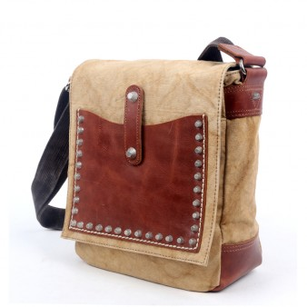khaki Rivets Genuine Leather Messenger Bags