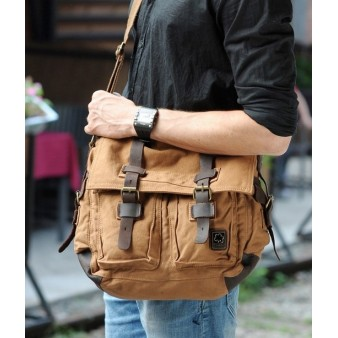 khaki courier bag