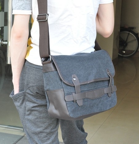 Mens canvas shoulder bags, mens canvas satchel bag - UnusualBag