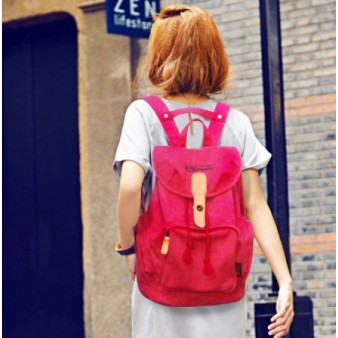 red trendy backpack
