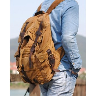 khaki Canvas knapsack backpack